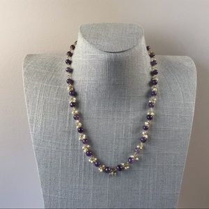 Jewelry - Purple amethyst wire wrapped bead necklace